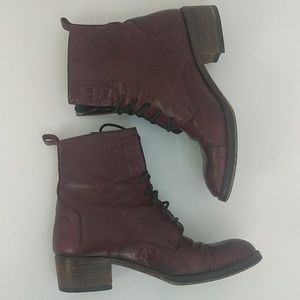 Joan & David Italian handmade red leather boots